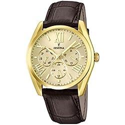 Festina F16753/2 - Reloj de pulsera hombre, piel, color marrón