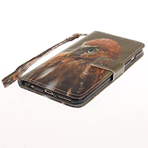 EUWLY Fashion Colorato Dipinto Protettiva Portafoglio Custodia in PU Pelle per iPhone 6 Plus/iPhone 6s Plus (5.5),Bello Animale Lanyard Wallet Case con Magnetica Chiusura Flip Funzione in PU Leather  Gufo