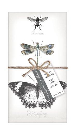 Montgomery Street Designs Montgomery Street Papillon, Libellule Abeille Coton Serviette, Ensemble de 4 Multicolore