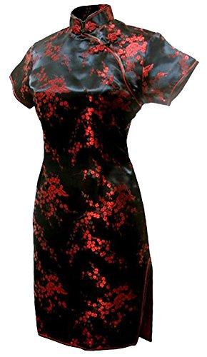 7Fairy Damen Schwarz & Rot Chinesisch Abend Kleid Cheongsam Mini Blumen Größe De 36