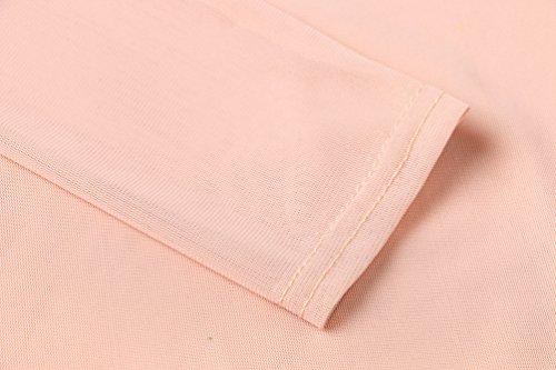 YiLianDa Donna Estate Mesh Prospettiva Camicia Manica Lunga Trasparente Shirt Tops Beige