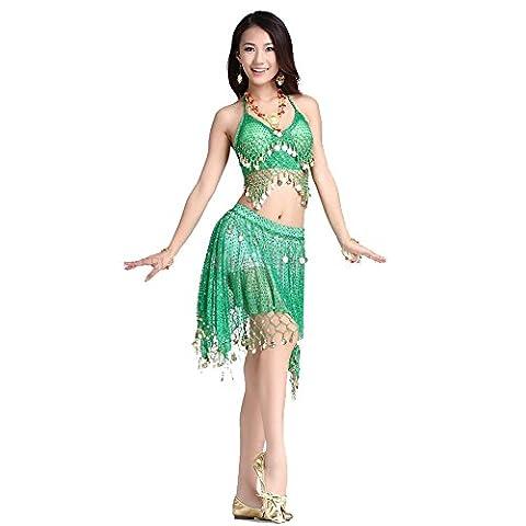 Tanz-Outfits Tanzkleidung Bauchtanz -Kostüm-Set Sexy Coins Bra Top&Coins Skirt green