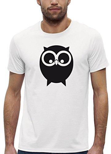 Herbst Premium Herren T-Shirt aus Bio Baumwolle mit EULE Motiv der Marke Stanley Stella White