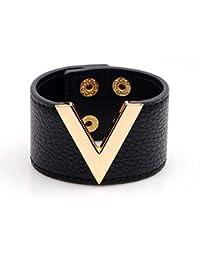 de8fda2a233 Juland Bracelet en Cuir véritable Tendance Punk V Word Large Ceinture de  Poignet Bracelet Manchette Femme