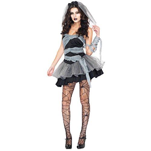 Cosfun Damen Halloween-Kostüm Mama Braut Kleidung Corpse Bride Kleid Vampire Uniformen Karneval Kostüme Schleier set