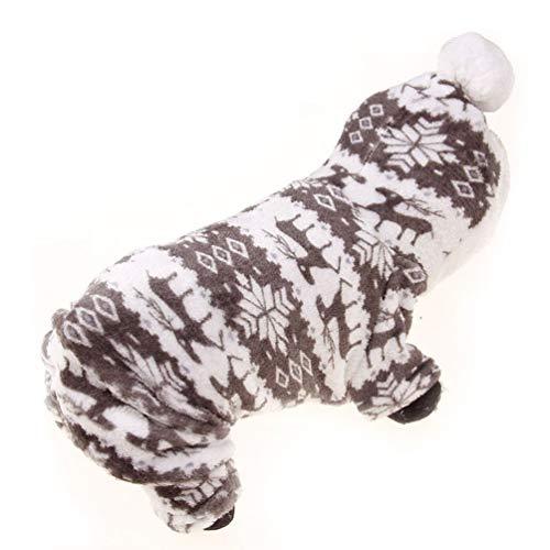 Oyamihin Niedlichen Cartoon Pet Rentier Welpen Mantel Kleidung weiche Korallen Samt Fleece Winter warme Pullover Overall Outfit Bekleidung - grau XL