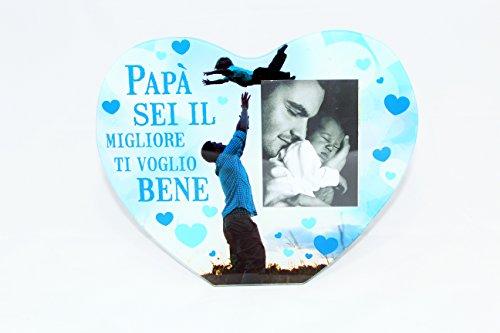 Cornice portafoto festa del papà in vetro a cuore cod. 10970