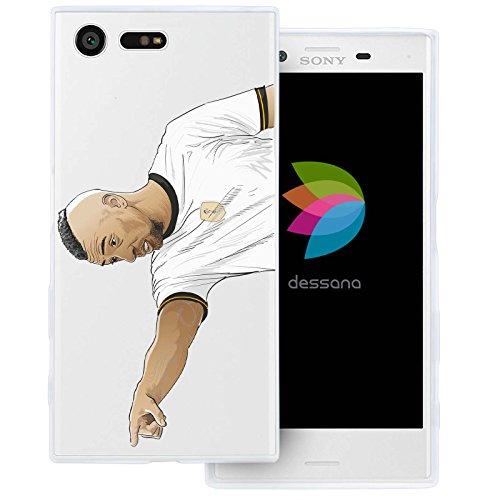 dessana Fußballer Transparente Silikon TPU Schutzhülle 0,7mm Dünne Handy Tasche Soft Case für Sony Xperia X Compact Mittelfeld Spieler