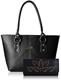 Fantosy Women Pu Black Handbag And Wallet Fnb-193_144