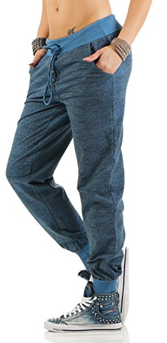 ZARMEXX trendy Damen Sweatpants Baggy Boyfriend Freizeithose Jogginghose Baumwolle Sporthose Loose fit Jeansblau