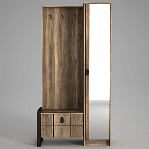 Alphamoebel 4241 Lost Garderobe Flurgarderobe Wandgarderobe Spiegel Schuhschrank mit Tür, Holz, Walnuss, viel Stauraum, Metallrahmen, 90 x 180 x 35 cm