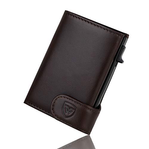 Kreditkartenetui, Wilbest Leder Kartenetui Dreifach Gefaltet -Geldbörse RFID Schutz mit automatischem Pop-up, kartenpaket für Herren Erntedankfest Bräunlich Schwarz