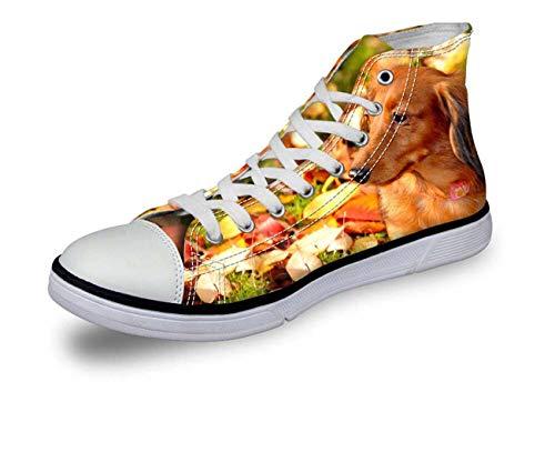 Hi Tops Women Men Comfy High Top Lace Up Boys Flat Trainers Canvas Couple Shoes Leaf CA5025AK UK 7\u002FEU40