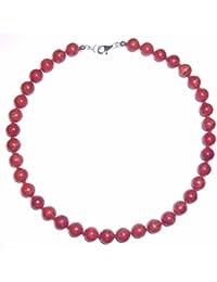 Korallenschmuck (Halskette) Korallenkette Kugeln mit Perlseide geknotet Verschluss 925er Sterling-Silber