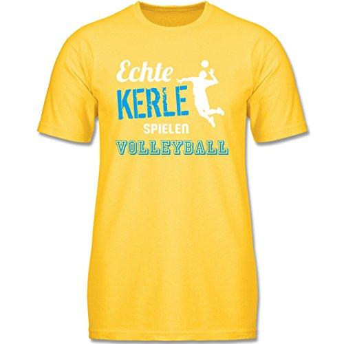 Sport Kind - Echt Kerle Spielen Volleyball - 152 (12-13 Jahre) - Gelb - F140K - Jungen T-Shirt (T-shirt Gelbes Volleyball)