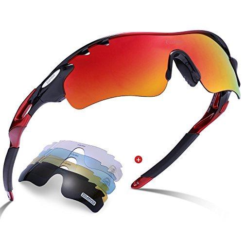 Gafas de sol deportivas-Carfia UV400 Protección Gafas de sol polarizadas para Bicicleta Acampada Golf Running con 5 lentes intercambiables (Marco rojo negro)