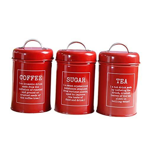 Fenteer 1 Satz Kaffee Dose/Küche Vorratsdose/Kaffee Tee Kanister,viele Farbe Auswahl - rot