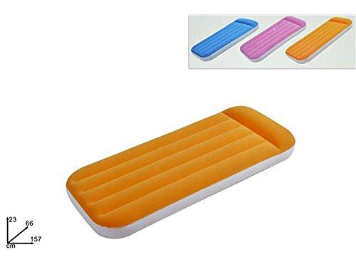 Materassino gonfiabile floccato singolo materasso lettino per bambini ospiti vari colori 157x66x23cm A9