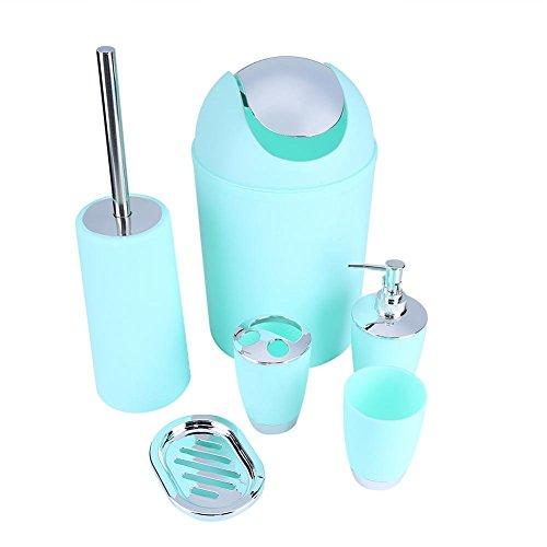 6-teiliges Luxus-Badezimmer-Set aus Kunststoff, bestehend aus Lotionsflasche, Zahnbürstenhalter, Zahnputzbecher, Seifenschale, WC-Bürste, Abfalleimer mintgrün (Badezimmer 6-teilig)