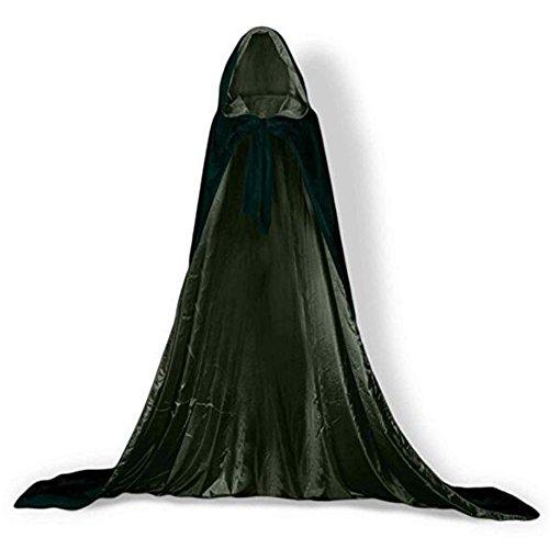 Kostüme Kapuzen Satin (YaoDgFa Unisex Halloween Kostüm Karneval Fasching Costume Umhang Cape Cosplay Kapuze Vampir Zauberer für Damen Herren Erwachsene /)