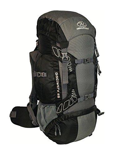 Highlander Discovery - Mochila de senderismo, color negro / gris, 65 L