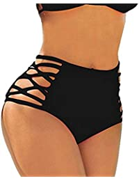 dbccf9f7219 FITTOO Women's Sexy High Waisted Bikini Bottoms Strappy Cutouts Briefs with  Tummy Control Design