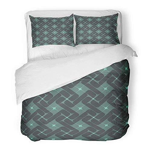 3-teiliges Bettbezug-Set aus gebürstetem Mikrofasergewebe Chaotic Abstract Endless Holzkohle und grau-grünes geometrisches Türkis zeitgenössische atmungsaktive Bettwäsche Set mit 2 Kissenbezügen King (Holzkohle Grau Bettbezug)