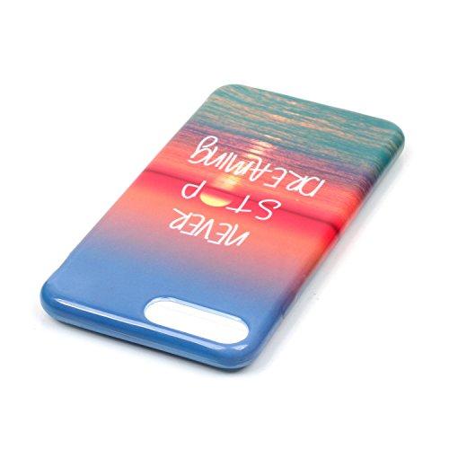 Pour Apple iPhone 7, Sunrive Coque Housse Étui Etui Protecteur Protection souple Ultra Mince transparent TPU Gel Silicone Cover Case(princesse Papillon noir)+ STYLET OFFERTS coucher du soleil