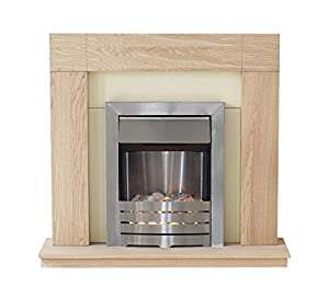 Adam Malmo Fireplace Suite in Oak with Helios Electric Fire in Brushed Steel, 39 Inch