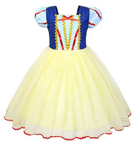 AmzBarley Schneewittchen Kostüm Kinder Mädchen Verkleidung Prinzessin Kleid Schick Party Kleider Halloween Karneval Cosplay Geburtstag Ankleiden Kleidung
