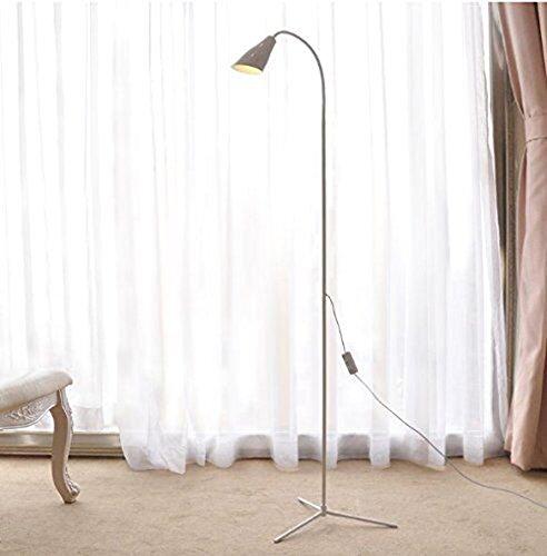 Eplze Soin des Yeux Lampe de Bureau LED environ. 180cm Hauteur Bell Head Dimmable Lampadaire LED 2 Niveaux de Luminosité avec Interrupteur Clip On Livre de Lecture de Lumière Plug and Play (Blanc)