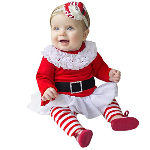 INLLADDY Weihnachten Outfits Baby Mädchen Kleinkind Baby Prinzessin Kleid Top + Streifen Hosen +Stirnband Weihnachten Outfits Kleidung Rot 6-12 Monate