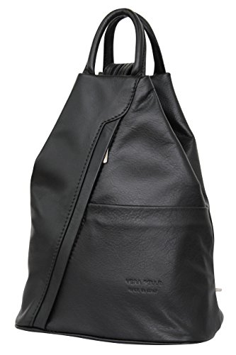 AMBRA Moda echt Leder Damenrucksack CityRucksack DayPack NL606R (Schwarz)