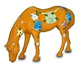 Modernes Pferd mit dekorativer Blumenbemalung orange lebensgroß 16cm für draußen aus Polyresin