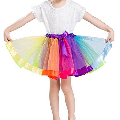 iLoveCos 80er Jahre Neon Tütü/Tutu / Tüllrock/Unterrock Petticoat Rüschen Geschichteten Pink Regenbogen Rot Rock Kleid Kostüm 1980er Jahre Neon Fancy Dress Outfit Zubehör für Kinder (ruffle1)