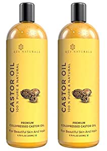 Rey Naturals Cold-Pressed, 100% Pure Castor Oil - Moisturizing & Healing, For Skin, Hair Care, Eyelashes (400ml) - (200ml x 2)