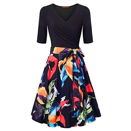 Donna manica corta scollo a v abiti vintage elegante svasato vestito