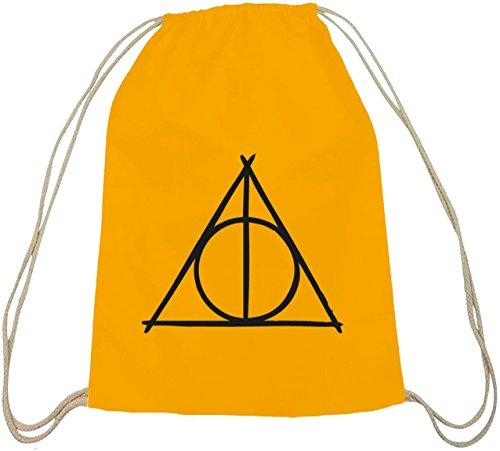 Shirtstreet24, Harry Triangle, Baumwoll natur Turnbeutel Rucksack Sport Beutel gelb natur