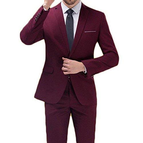MYS Set di pantaloni tuta Notch personalizzata Classic Cravatta Uomo Bordeaux Burgundy Su Misura