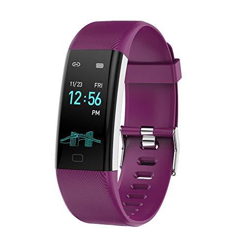 gouxia74534 Intelligente Armbanduhr, für Männer, Smartwatch, für Damen, Smartwatch, BT Armband, Farbe mit Sportuhr, Herzfrequenz, Fahrrad-Armband violett