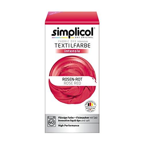 Simplicol Textilfarbe Intensiv (18 Farben), Rosen-Rot 1803: Einfaches Textilfärben in der Waschmaschine, Komplettpackung mit Färbemittel und Fixierpulver (In Farbe Einer Alle)