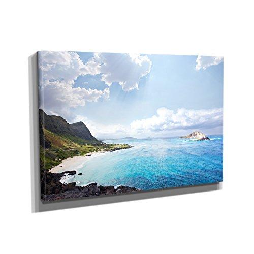 Hawaii Beach - Kunstdruck auf Leinwand (90x60 cm) zum Verschönern Ihrer Wohnung. Verschiedene Formate auf Echtholzrahmen. Höchste Qualität. (Hawaii-foto-rahmen)