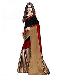 Kiranz Web Store Women's Cotton Saree With Blouse Piece (Kwsmpb_240_30,Red Black,Free Size)