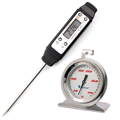 Küchenthermometer Kombi Set mit Edelstahl V2A Backofenthermometer Analog 300 °C und Digital Einstich , Braten , Fleisch Thermometer -50 bis + 300 °C - Digitales Braten-thermometer