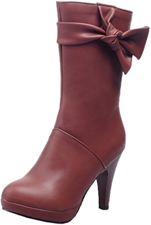 HooH Damen Halbschaft Stiefel Matt Bowknot Reißverschluss Winter Warm High Heel Halbe Stiefel