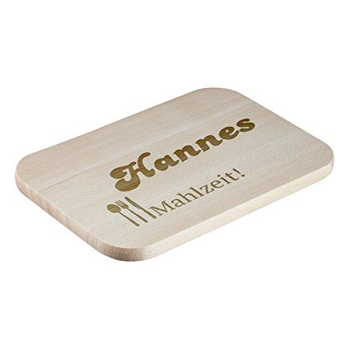 Schneidebrett aus Buchenholz mit Gravur - Personalisierte Geschenkidee - Motiv Mahlzeit