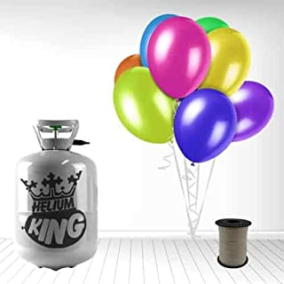 Disposable Helium Gas Cylinder with 30 Assorted Balloons and Curling Ribbon included (WBhelium30-1)