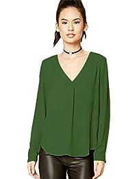 Haroty Bluse e Camicie Donna Maniche Lunghe Elegante T-shirt Casual in  Chiffon Taglie Forti 860950bfe9f