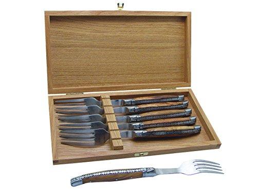 Baladéo Laguiole Gabel-Set, 6 Gabeln Messer, Silber, 20 x 10 x 2 cm