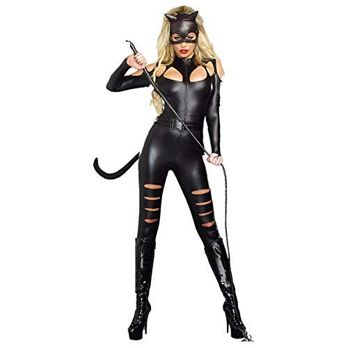 Kostüm Batman Katze - Halloween Kleid, Cosplay Halloween Party Katze Mädchen Uniform Batman maskiert Kostüm Erwachsene, Maske + Overall + Gürtel